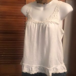 Abercrombie & Fitch White Tank with Lace